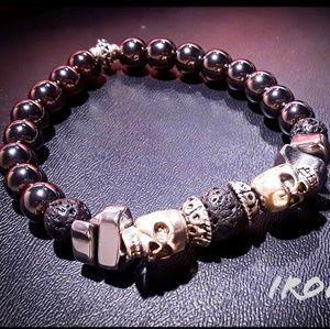 👑Mens Heavy Gemstone and Metal Skull Bracelet👑